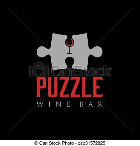 Vector Illustration of puzzle wine bar negative space concept.