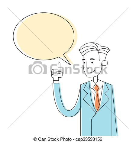 Clipart Vector of Businessman Point Finger Chat Box Bubble Copy.