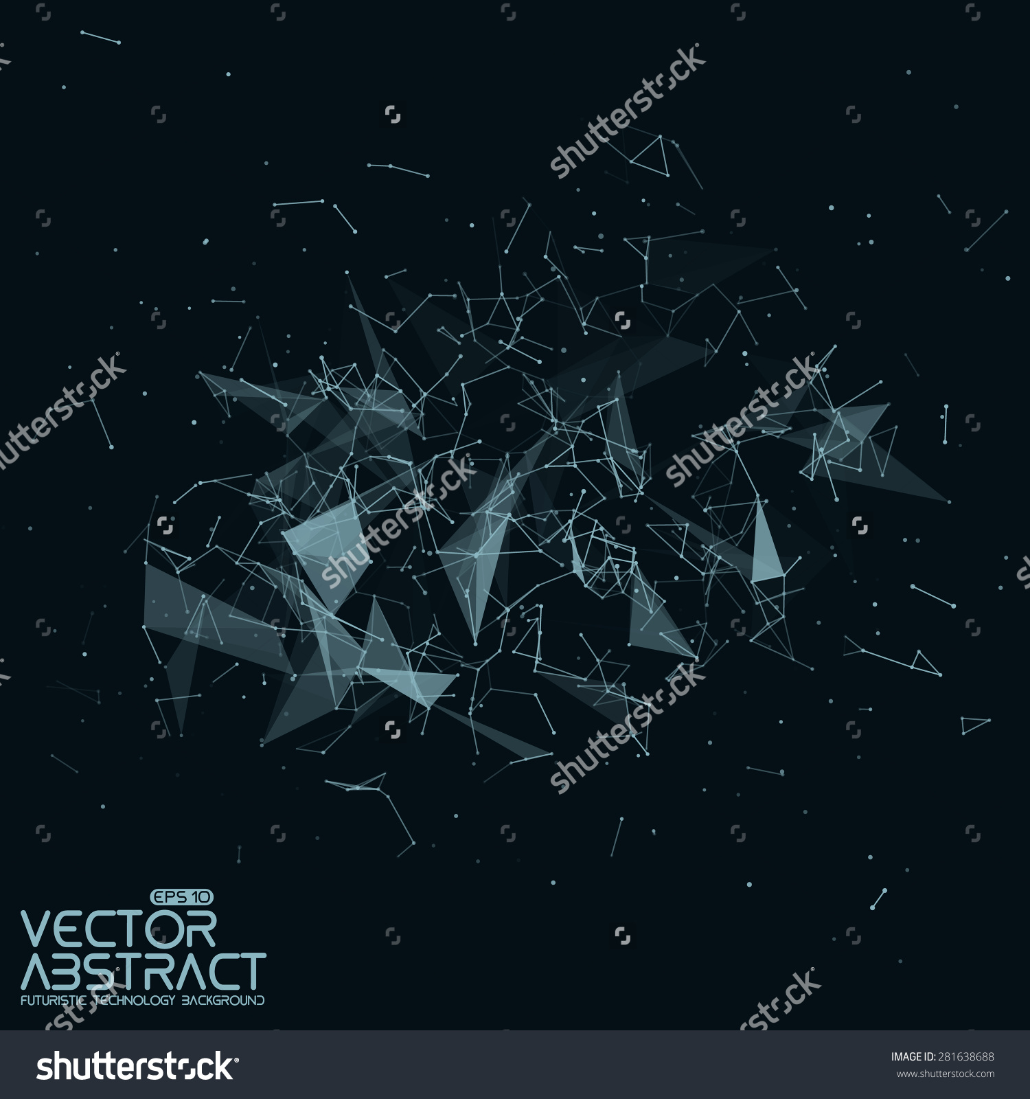 Abstract Vector Mesh Background Chaotically Connected Stock Vector.