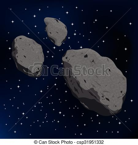 Vectors of vector illustration of an asteroid and meteorite.