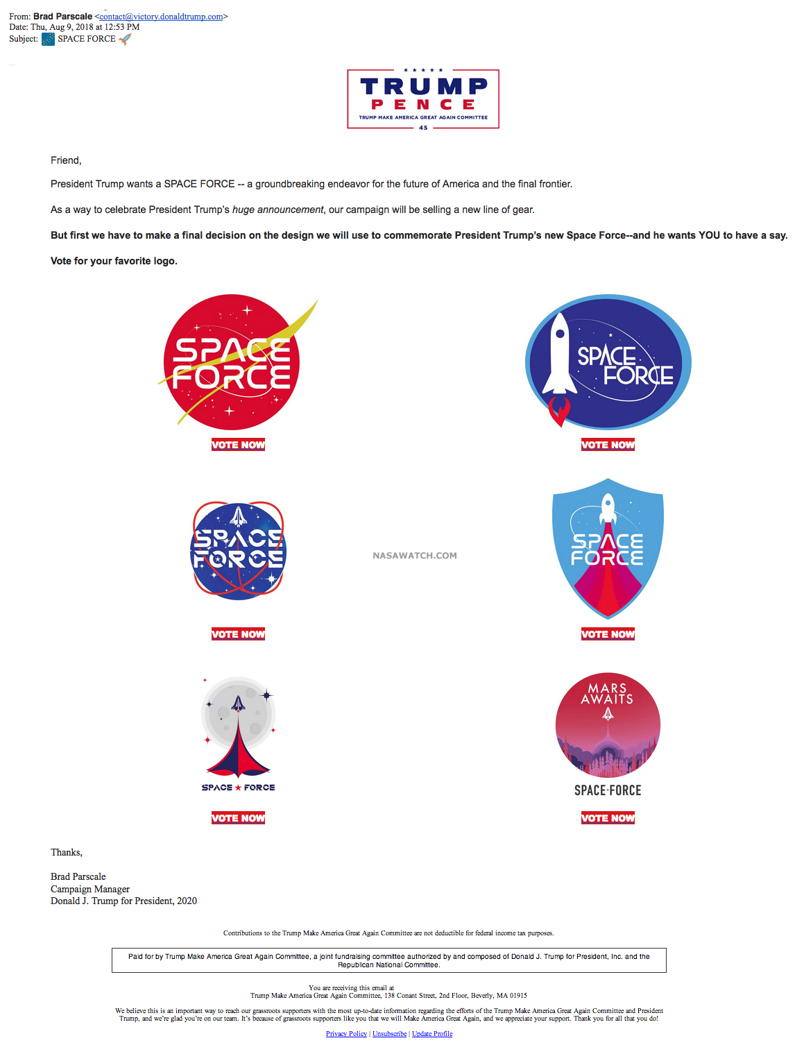 Hey, Its The Trump 2020 Campaign Space Force Logo Contest.