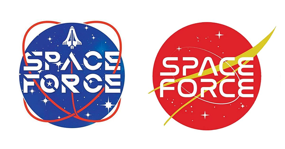 trump administration asks supporters to vote on space force logo.