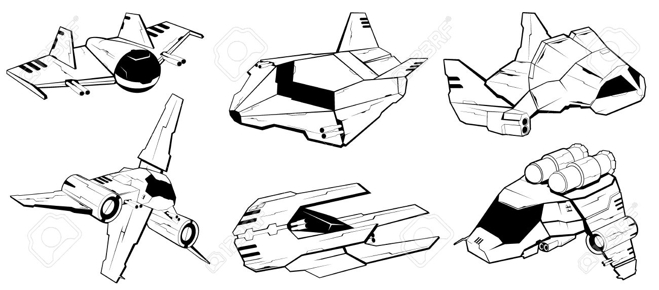 Set Of Battle Spaceships. Space Armed Forces. Futuristic Vehicles.