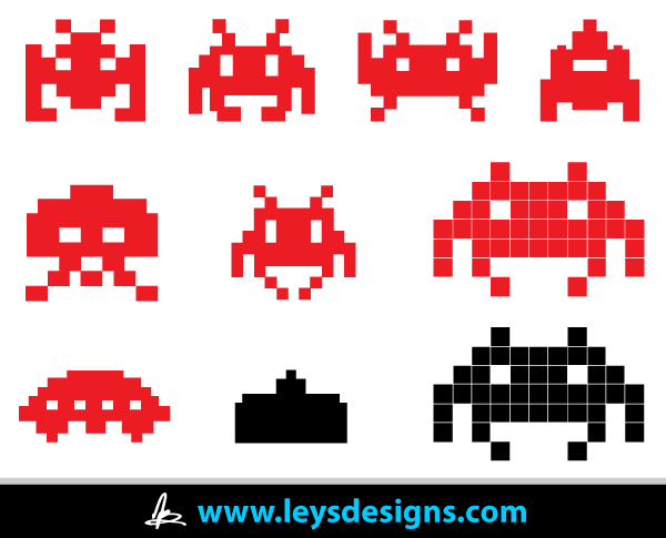 Vector Space Invader Icons.