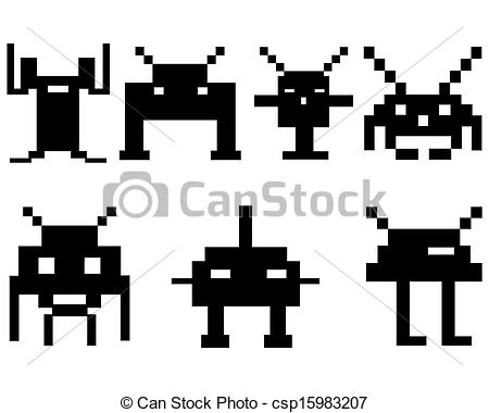 Vector Clipart of space invaders on a white background csp15983207.
