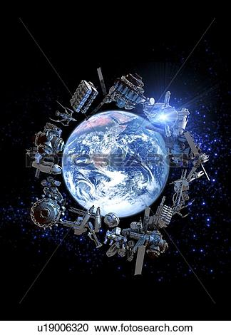 Stock Illustrations of Space junk, conceptual artwork u19006320.