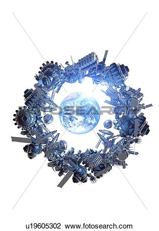 Clip Art of Space junk, conceptual artwork u19605302.