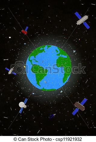 Drawings of space junk.