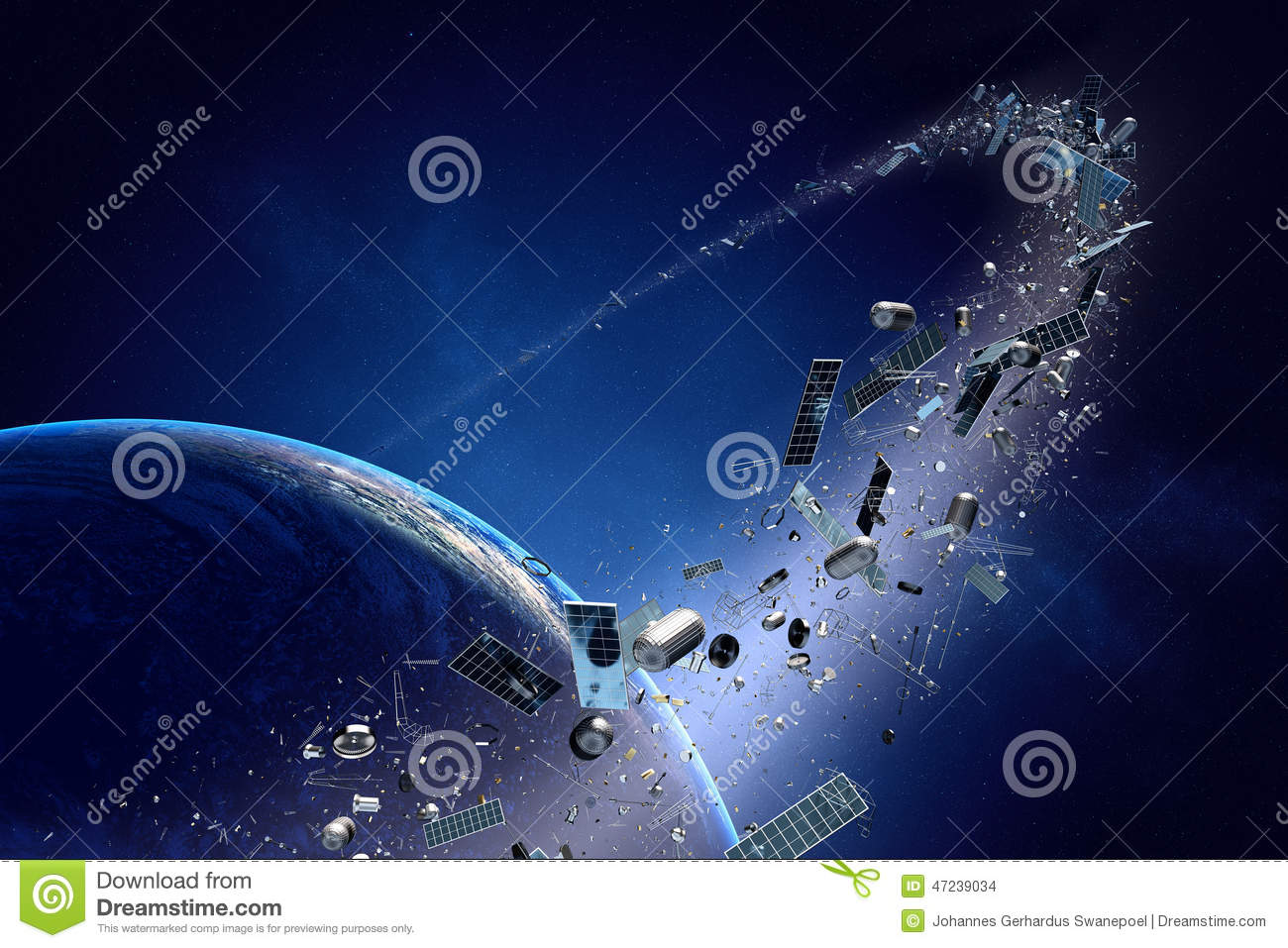 Space Junk (pollution) Orbiting Earth Stock Illustration.