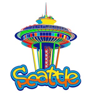 Space needle clipart seattle full color.