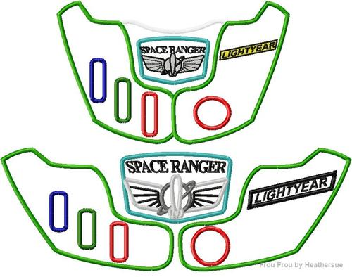 Space Ranger Chest Plate TWO VERSIONS Toy Machine Applique Embroidery  Design, Multiple Sizes, including 4 inch.