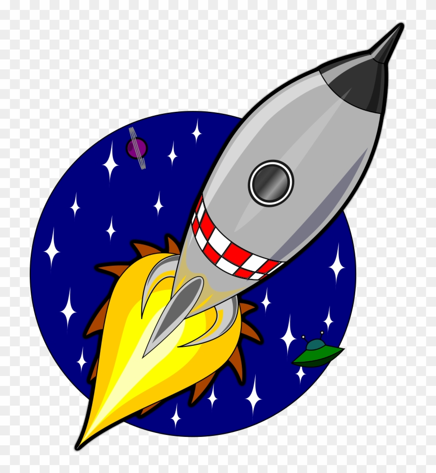 Spacecraft Rocket Cartoon Outer Space Cutout Animation.