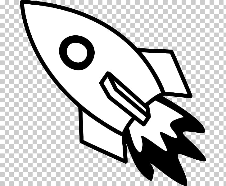 Rocket Spacecraft Black and white , Spaceship PNG clipart.