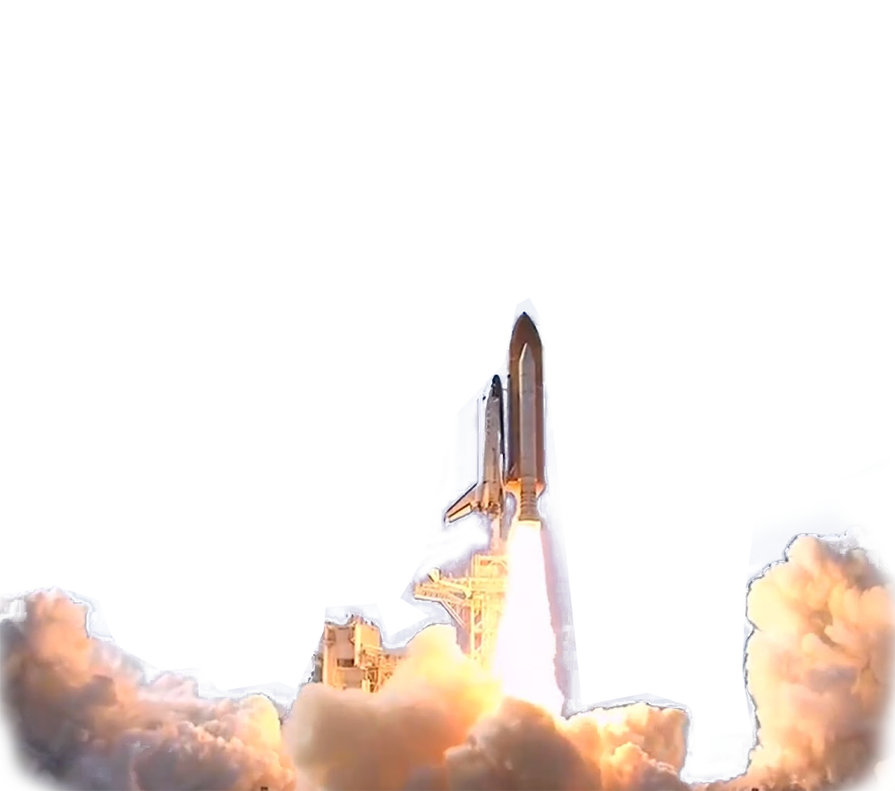 Space Shuttle launch transparent background PNG web design.