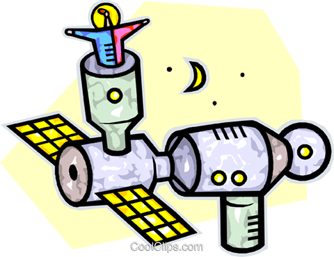 space station Royalty Free Vector Clip Art illustration.
