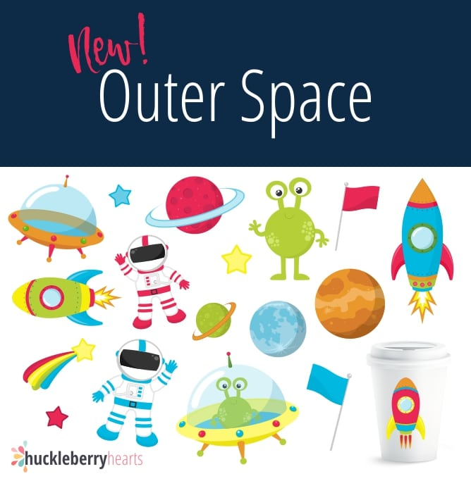 Outer Space Themed Clipart Set.