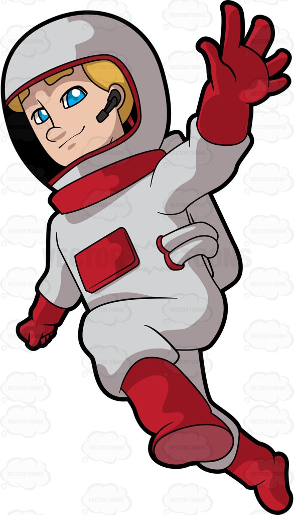 A Female Astronaut Reveling A Space Walk Cartoon Clipart.