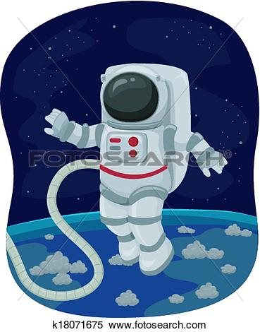 Clipart of Astronaut Space Walk k18071675.