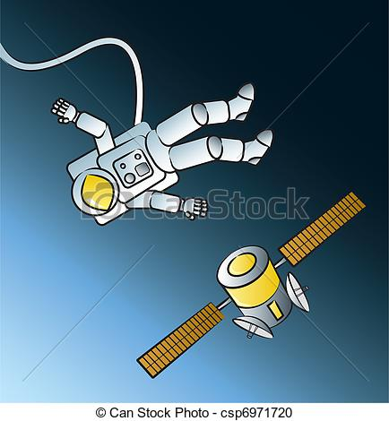 Vector Clipart of Astronaut Spacewalk.