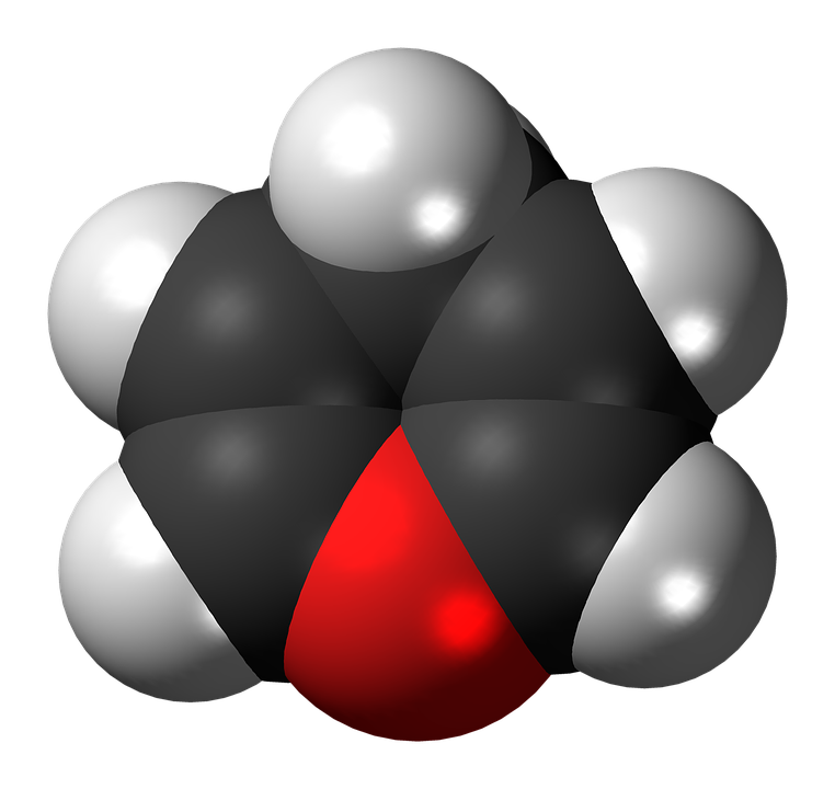 Free photo Spacefill Pyran Ball Heterocycle Molecule Model.
