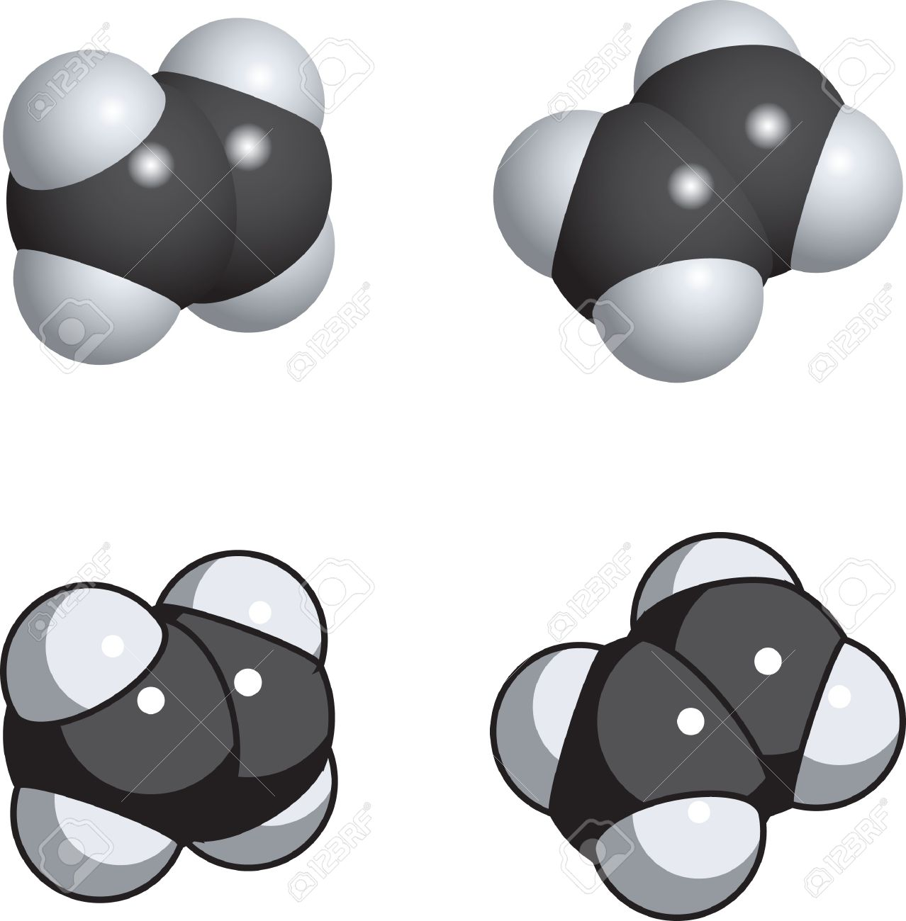 A Space Fill Model Of Ethylene. Royalty Free Cliparts, Vectors.