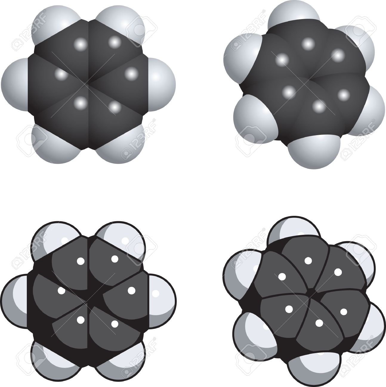 A Spacefill Model Of Benzene. Royalty Free Cliparts, Vectors, And.