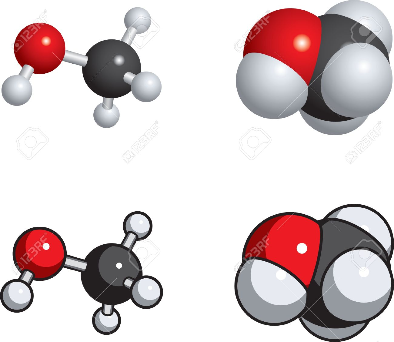 Space Fill, Ball And Stick Models Of Methanol. Royalty Free.