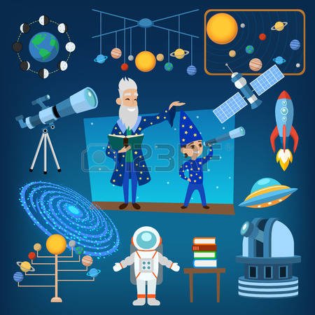 Evil Scientist Moon Space Lab Clipart Cartoon Icon.
