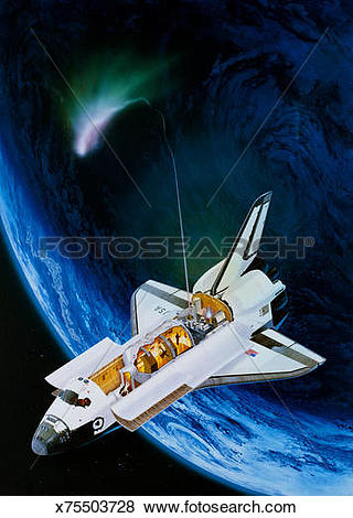 Stock Illustration of Illustration of space shuttle & Space Lab I.