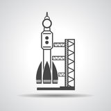Black Launch Site With Rocket, Spaceport Icon Stock Vector.