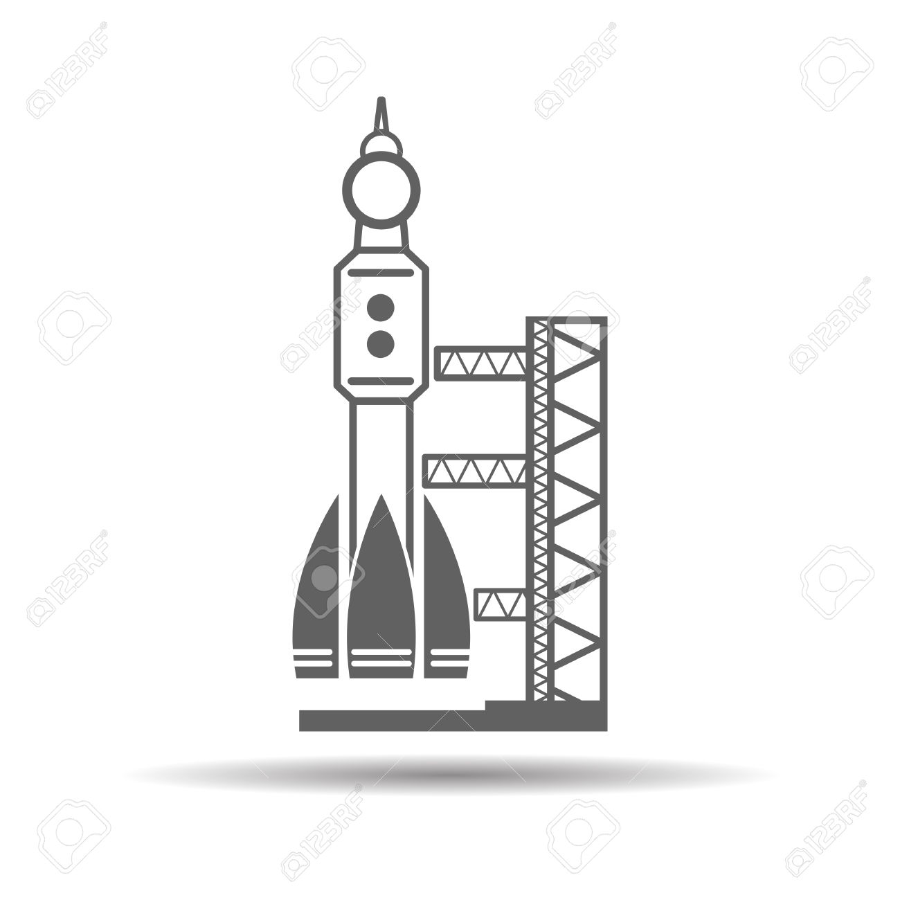 Black Launch Site With Rocket, Spaceport Icon, Vector Illustration.