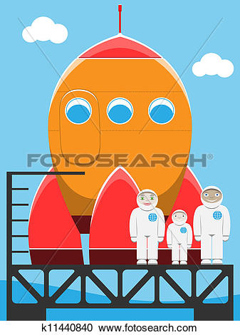 Clipart of astronaut family at spaceport k11440840.