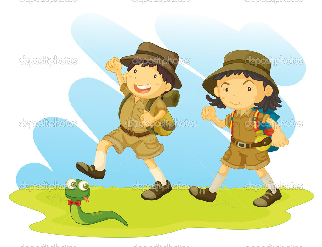 Boy and girl scout — Stock Vector © interactimages #10274559.