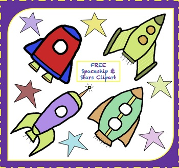 FREE Spaceship Clipart / Rocketship Clipart / Stars Clipart (FREE Clipart).