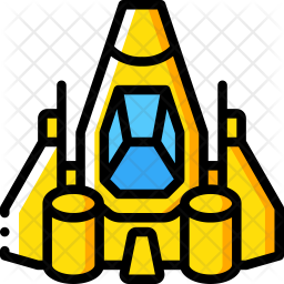 Spaceship Icon of Colored Outline style.