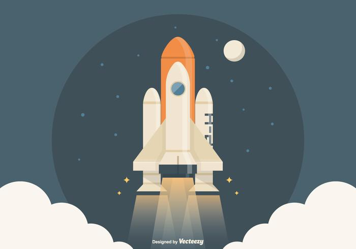 Spaceship Launch Vector Illustration.