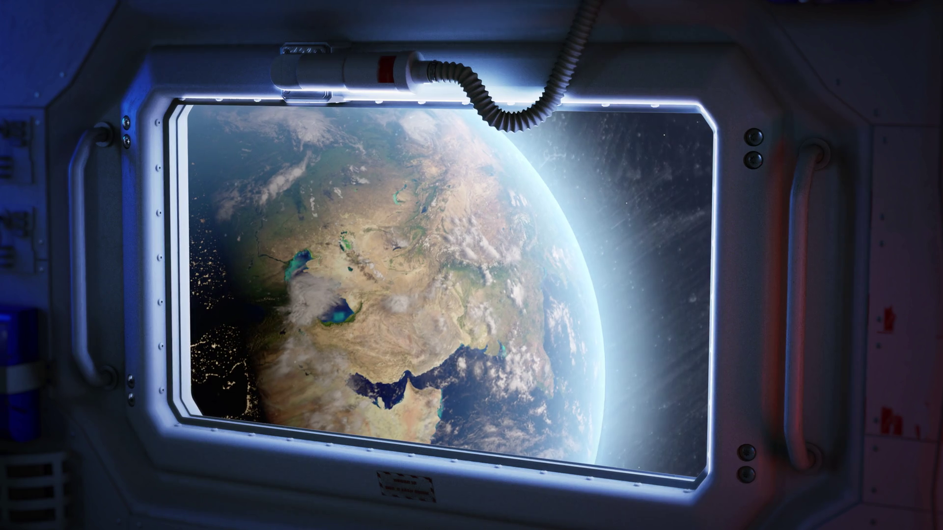 Planet earth through the window of a spaceship shuttle Stock Video Footage.