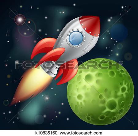 Clipart of Cartoon rocket in space k10835160.
