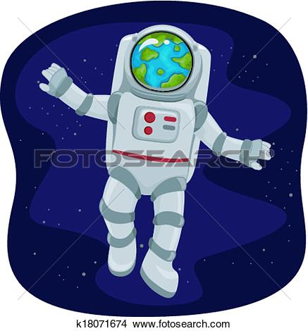 Clipart of Astronaut Space View k18071674.