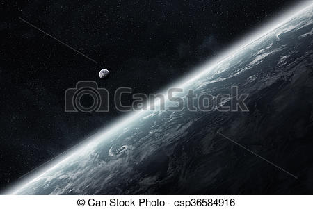 Clipart of View of the moon close to planet Earth in space.