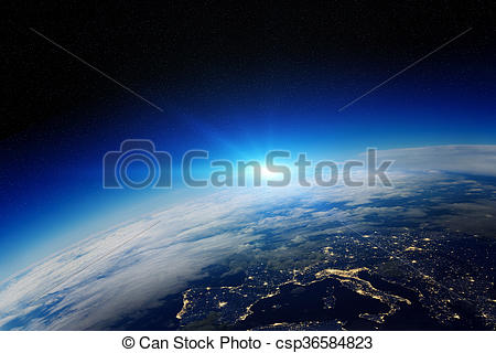 Clip Art of Sunrise over planet Earth in space.