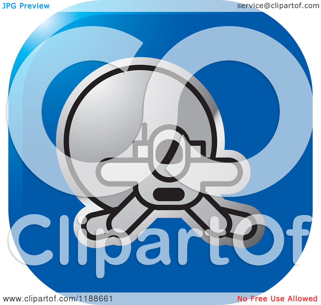 Clipart of a Square Blue and Silver Spacewalk Astronaut Icon.