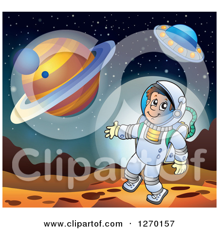 Clipart of a Happy Astronaut Doing a Space Walk over Planets and a.