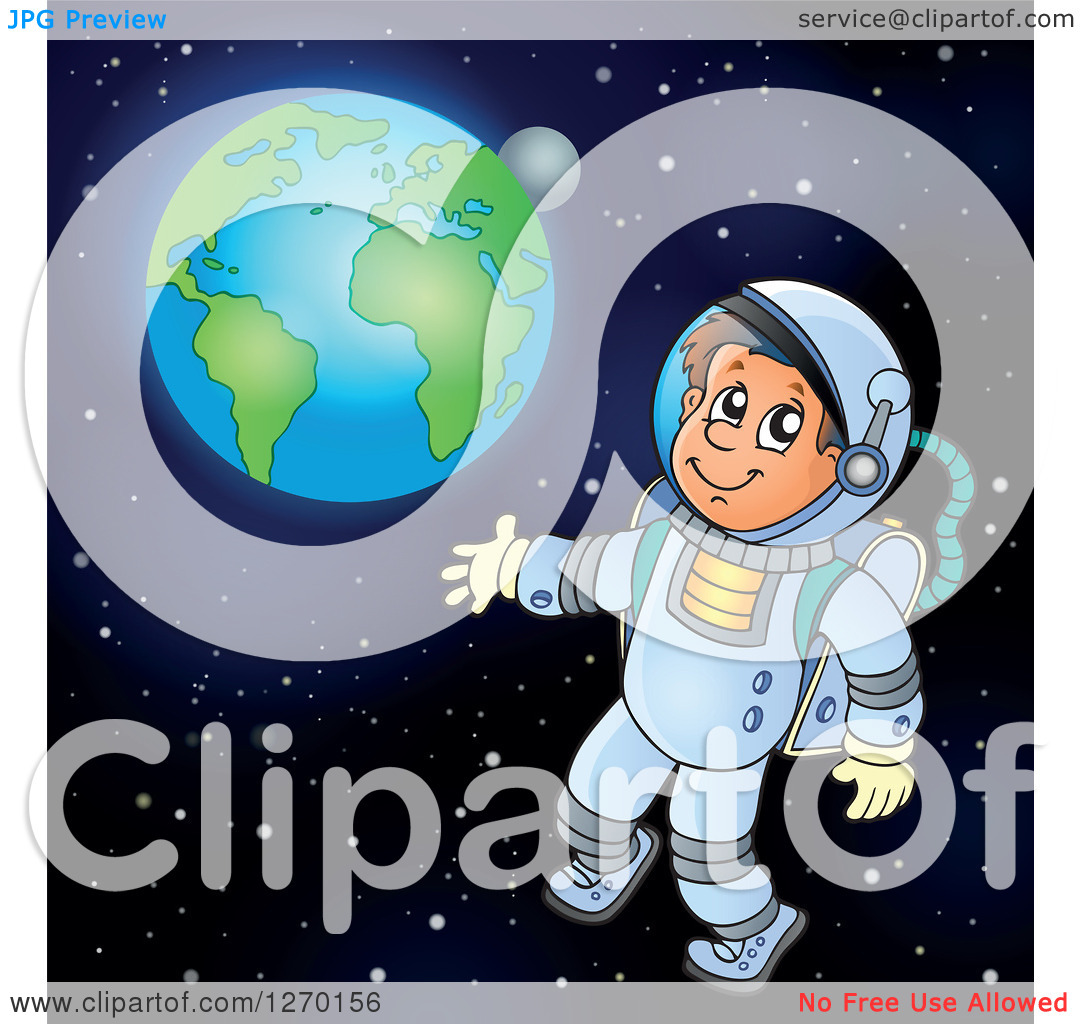 Clipart of a Happy Astronaut Doing a Space Walk with Earth in the.