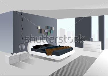 房間寬敞,有城市視圖付費矢量圖.