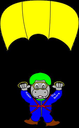 Spadochroniarz hipopotam wektorowa.