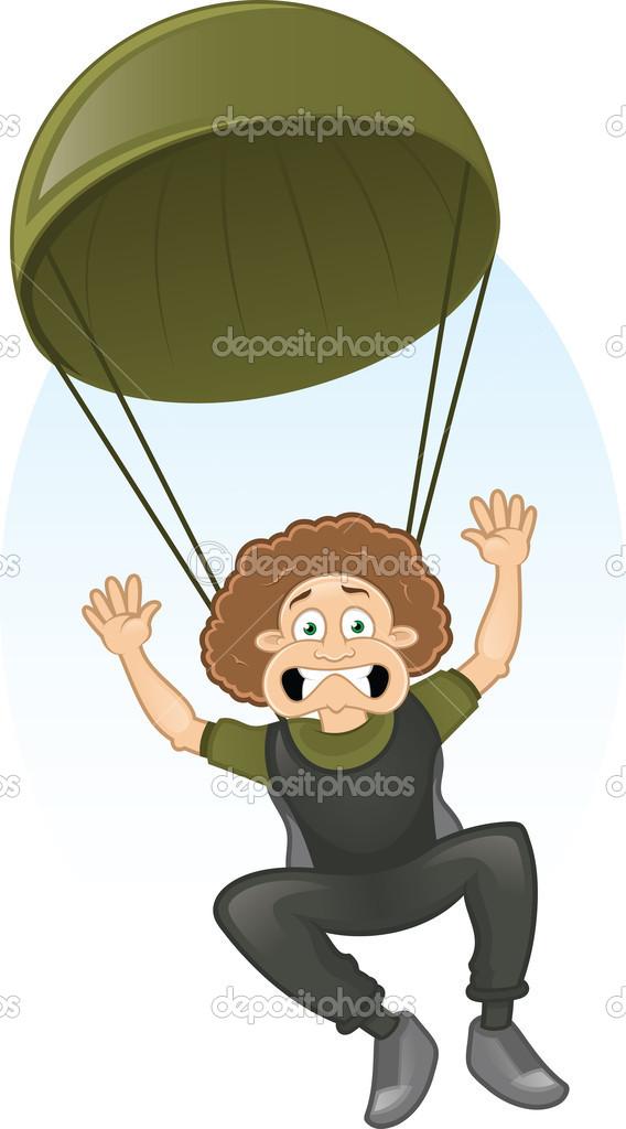 Wektor kreskówka przestraszony spadochroniarz — Grafika wektorowa.