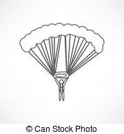 Parachutist silhouette jump extreme sport recreation Illustrations.