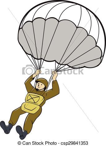 Cliparty Wektorowe spadochroniarz, spadochron, amerykanka, rysunek.