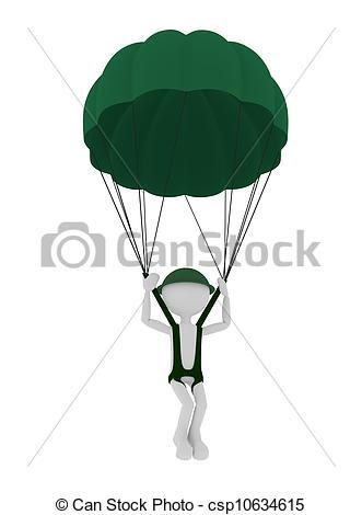 Cliparty wojskowy, spadochroniarz, osoba, spadochroniarstwo, 3d.